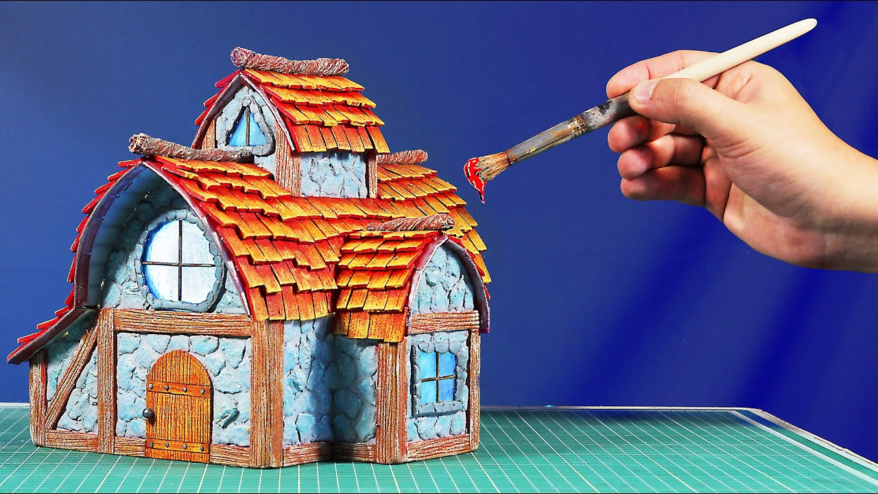 "DIY ""Stone"" Fairy House Cottage Using Cardboard"