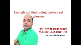 Example on limit point of set, derived set, closure, dense set