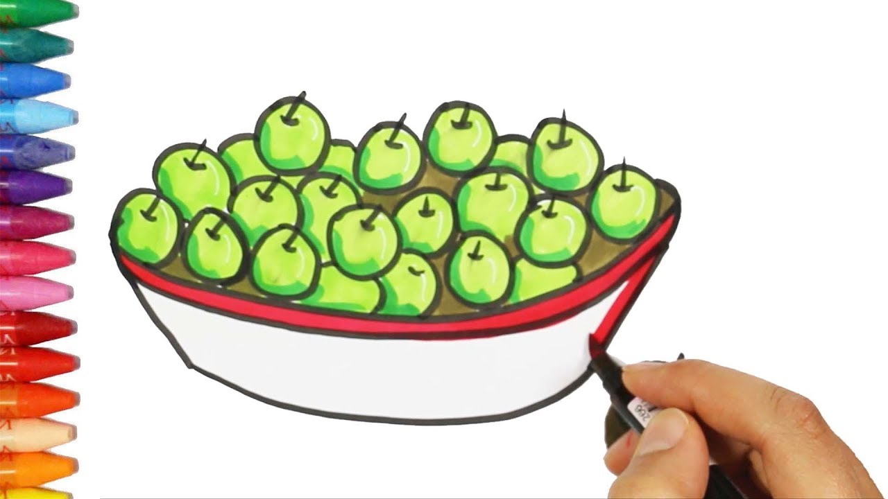 how to draw and color green plums drawing and coloring plums