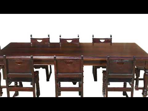 Large Solid Wood Dining Table and Chairs Furniture