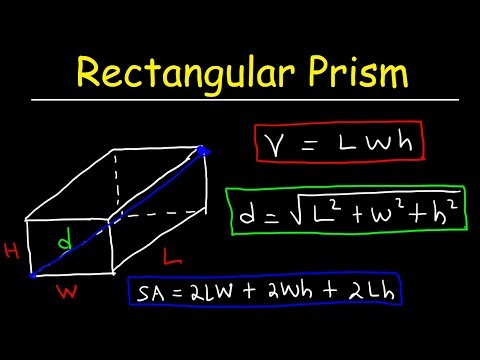 Rectangular Prism - Volume, Surface Area And Diagonal Length, Rectangles, Geometry