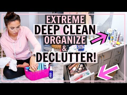 ORGANIZE AND DEEP CLEAN MY BATHROOM WITH ME! BATHROOM DECLUTTER | ULTIMATE CLEANING MOTIVATION