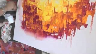 Como pintar con Acrilicos Cuadro Abstracto - Paso a Paso - Gabriela Mensaque