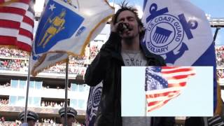 ADAM GONTIER SINGING THE NATIONAL ANTHEM AT GILLETTE STADIUM