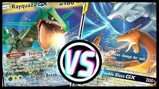 Reshiram & Charizard GX vs Rayquaza GX - Pokemon TCG tabletop gameplay