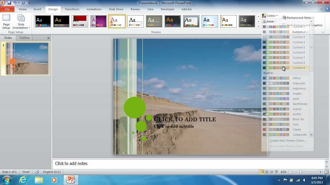 How To Insert The Powerpoint 2010 Background Image Youtube