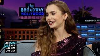 James asks lily collins about her night at the met gala, which included two running into each other and grabbing a video of anna wintour j...
