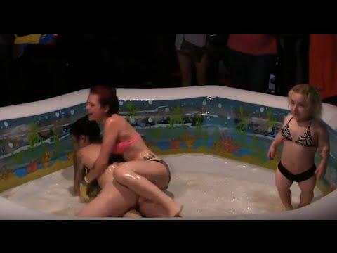 Good Sexy oiled bikini wrestling