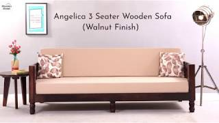 3 Seater Wooden Sofa Buy Angelica 3 Seater Wooden Sofa Walnut Finish Online Wooden Street Youtube