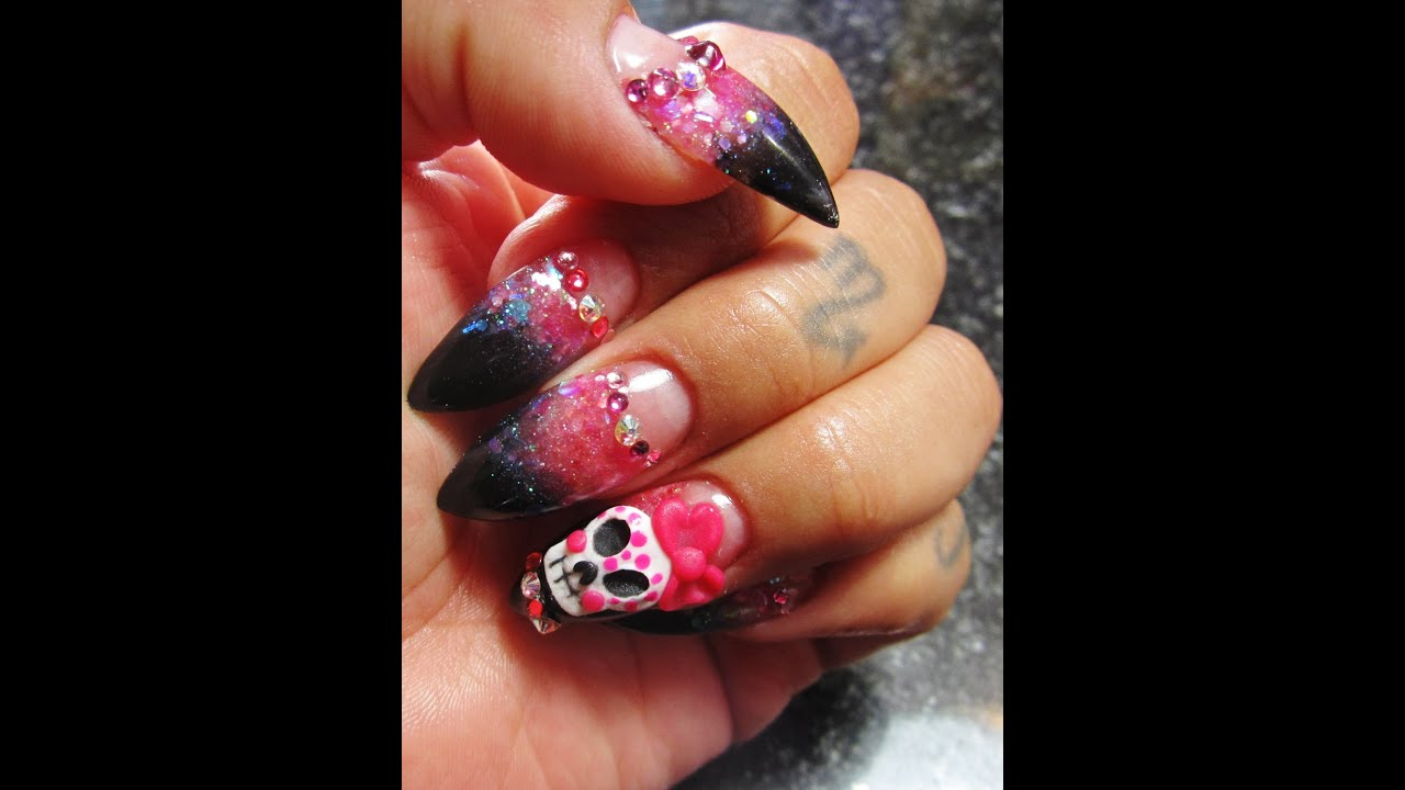 Pointed Acrylic Nails Sugar skull low smile line - YouTube