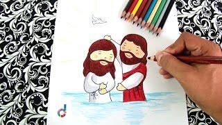 Cómo dibujar el Bautismo de Jesús | How to draw The Baptism of Jesus