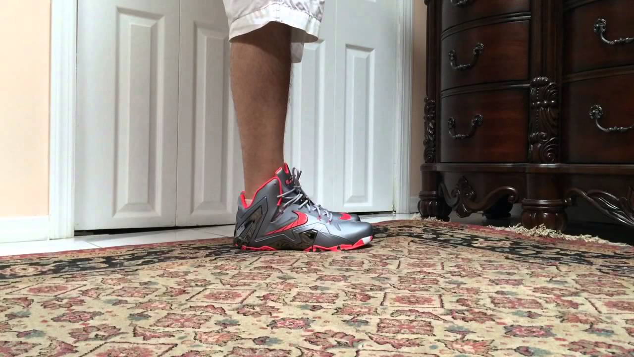 Nike Lebron 11 XI Elite Grey Laser Crimson On Foot - YouTube 4ebc3f13149
