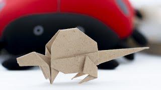 Origami Dinosaur. How to make paper Dinosaur. Dimetrodon