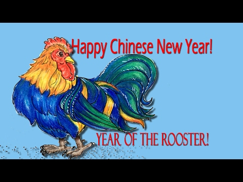 Happy Chinese New Year-- How to Draw and Color a Rooster