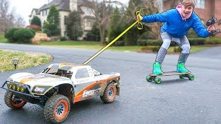 HUGE RC CAR SKATEBOARD PULL!! (WILL THIS WORK?)