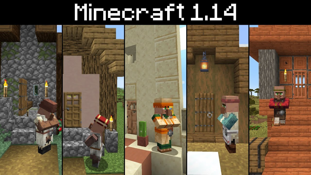 Minecraft 1 14 All New Villages Villager Skins Berry Bush