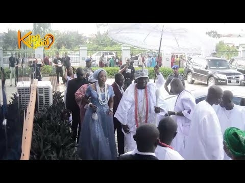 Watch Ooni Of Ife and his new Olori, Prophetess Naomi make first public Appearance