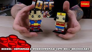 Brickheadz Bootlego: Decool Superman & Wonder woman 'CuteDoll' Brickheadz - Timelapse