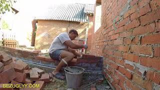 #Строительство дома. Приготовление бетонной смеси в бетономешалке. Кладка перегородок.