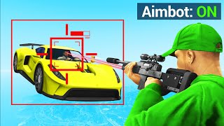 CHEATING In GTA 5 SNIPERS Vs. CARS! (Auto-Aim)