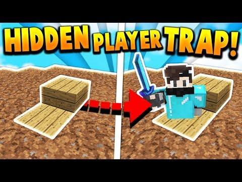 HIDDEN PLAYER TRAP TROLL! - Minecraft SKYWARS TROLLING