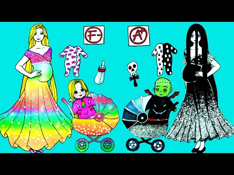Paper Dolls Dress Up - Fairy Rapunzel & Ghost Sadako Mother and Daughter - Barbie Story & Crafts