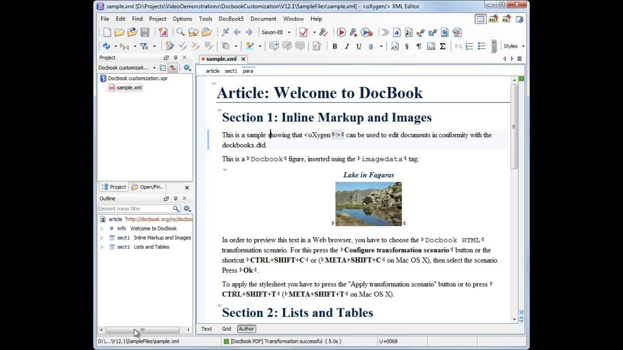 oXygen XML Editor - DocBook Customization