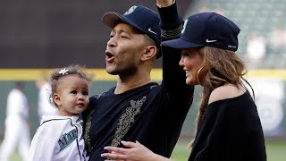 Baby Luna threw the first pitch at a baseball game and crushed it