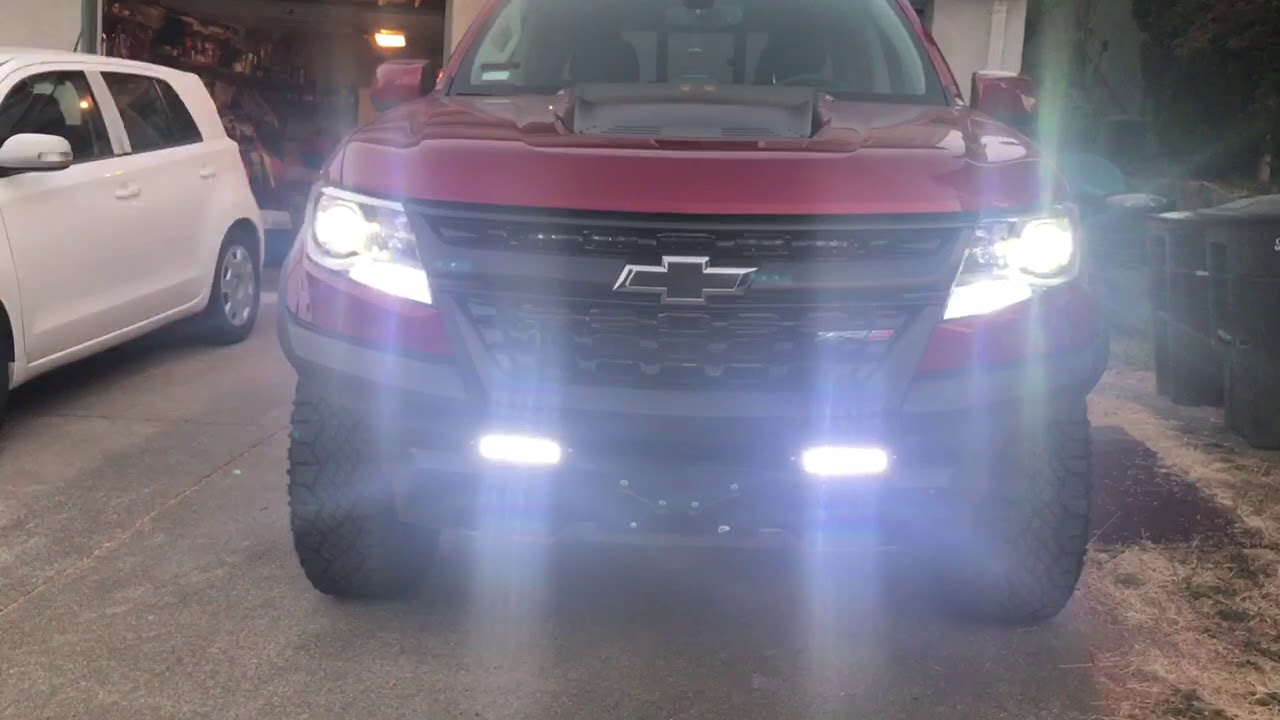 Off Road Led Lights With Wiring Harness Zr2 Colorado Led Behind Grille Youtube