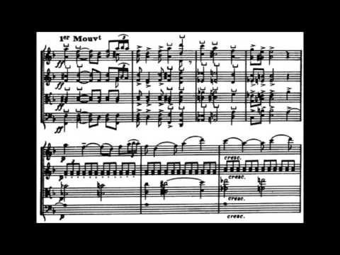 Claude Debussy - String Quartet No. 1 in G minor, movement 1 (with score)