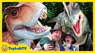 Giant Life Size T Rex & Little Dinosaurs At Jurassic Quest Kids Dinosaur Event