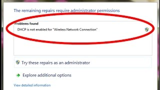 how to fix dhcp is not enabled for wifi windows 7,8,10