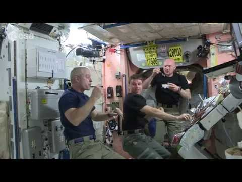 Space Station Astronauts Eat a Floating Dinner | ISS Science Video
