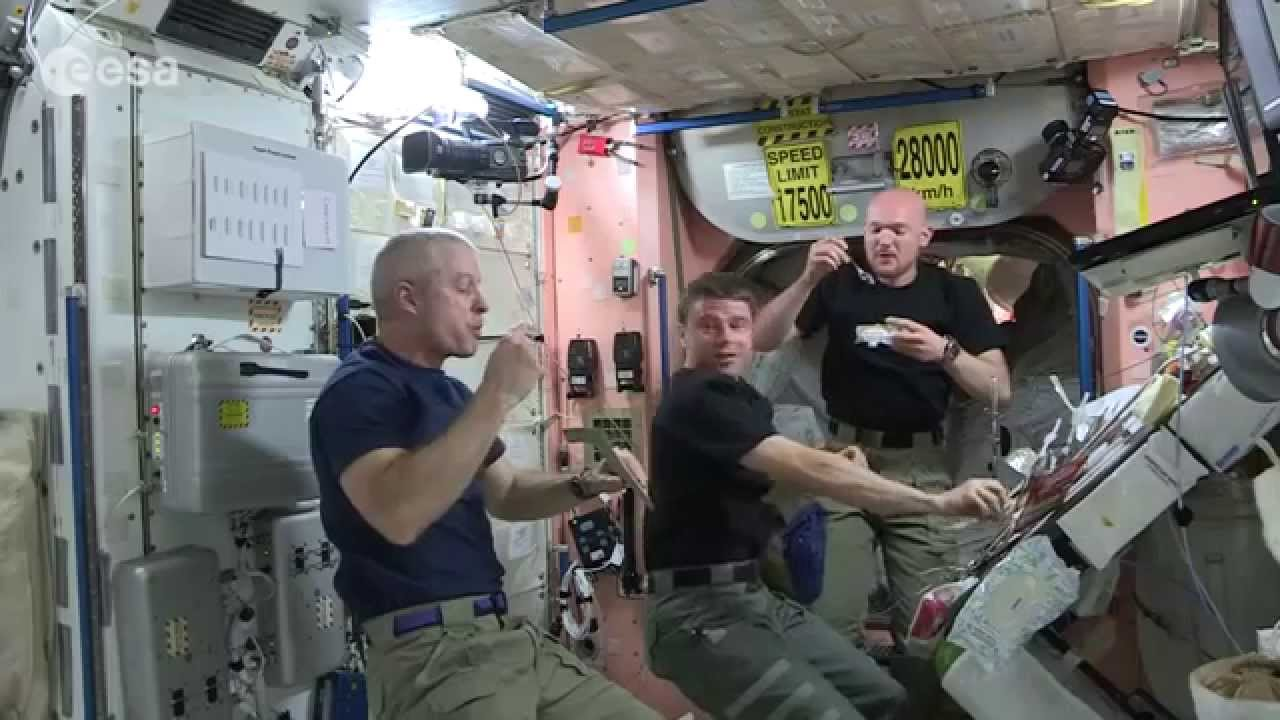 How astronauts use the bathroom - Space Station Astronauts Eat A Floating Dinner Iss Science Video Youtube
