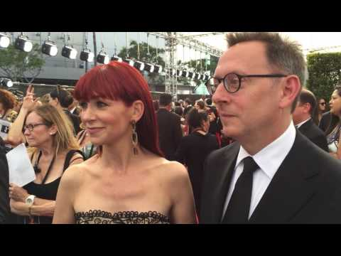 Carrie Preston 'The Good Wife' and Michael Emerson 'Lost' on 2016 Creative Arts Emmys red carpet