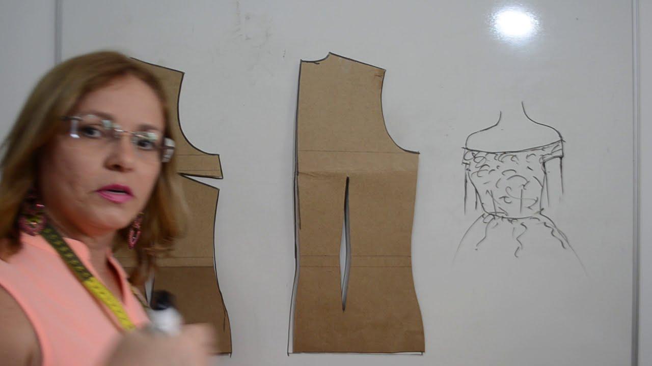 adcb29e21b Diy - Como fazer molde de decote ombro a ombro com ou sem babado - aula 111