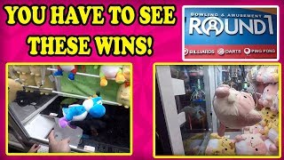 WINNING at Round 1 Arcade UFO CATCHERS and CLAW MACHINES! Tons of BIG plush wins by 9 year old girl!