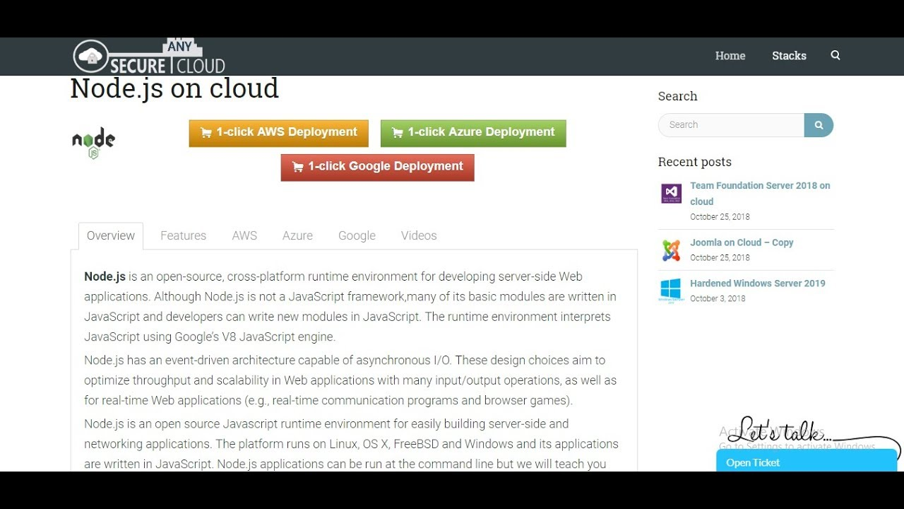 Node js on Cloud ( AWS / Azure / Google Cloud)