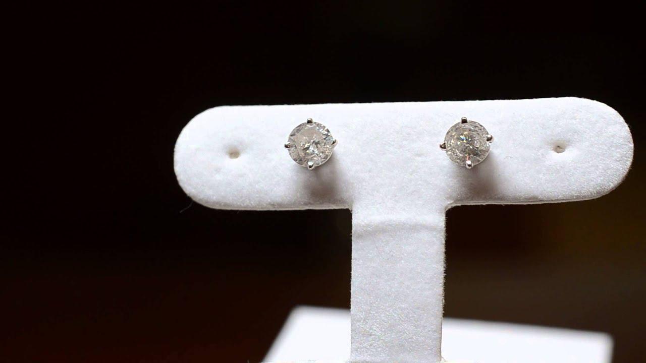 Pre Owned Diamond Stud Earrings Rox 1 Ctw