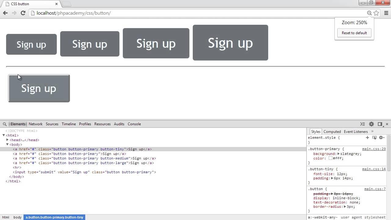 Create a CSS button