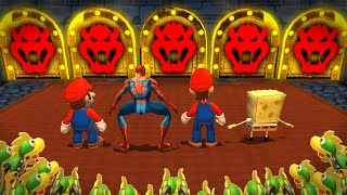 Mario Party 9 MiniGames - Mario Vs Spider Man Vs Luigi Vs SpongeBob (Master Cpu)
