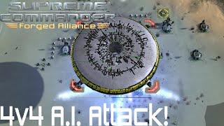 Supreme Commander Forged Alliance Forever - 4v4 A.I. Attack!