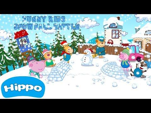 Funny Kids Snowball Battle