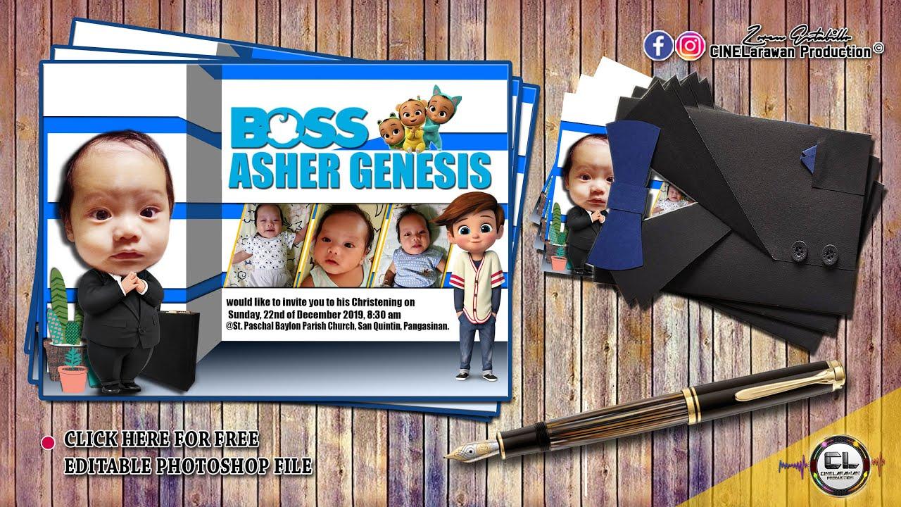diy boss baby motif invitation for birthday christening clp layout designproduction