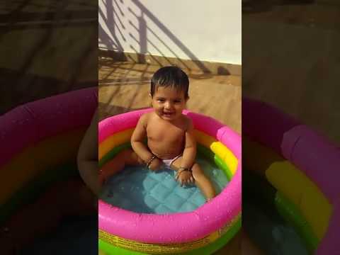 year old baby taking Sun bath - YouTube