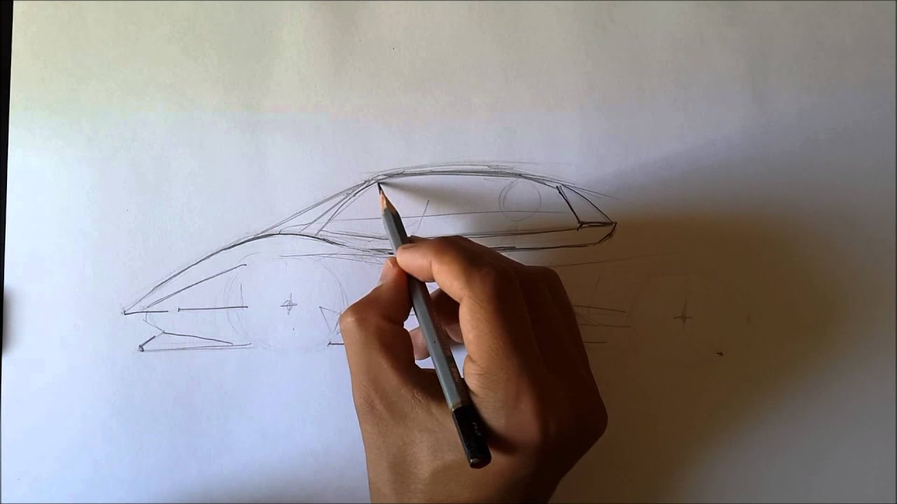 как нарисовать lamborghini сбоку