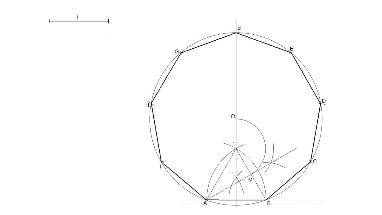 How To Draw A Regular Nonagon Knowing The Length Of One Side Youtube