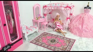 Barbie Bedroom Morning Routine Barbie Spa to Fab باربي غرفة نوم باربي دمية Boneca Barbie Quarto