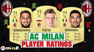 FIFA 20 | AC MILAN PLAYER RATINGS 😳🔥| FT. PIATEK, DONNARUMMA, ROMAGNOLI... etc