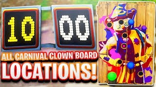 """Get A Score of 10 or More on Different Carnival Clown Boards"" FORTNITE LOCATIONS WEEK 9 CHALLENGE!"